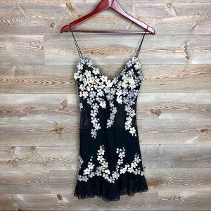 Ema Savahl Hand Painted Made Black Sheer Dress